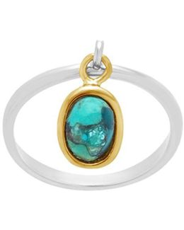 Angling Turquoise Oval Stone Charm Ring