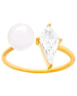 Diamond Shape Cubic Zirconia And Fresh Water Pearl Open Ring