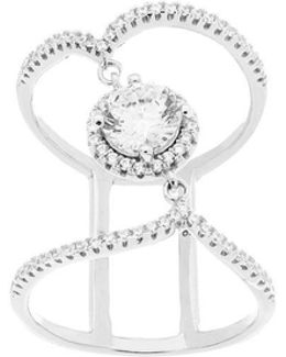 Double Strand Center Cubic Zirconia Wavy Ring