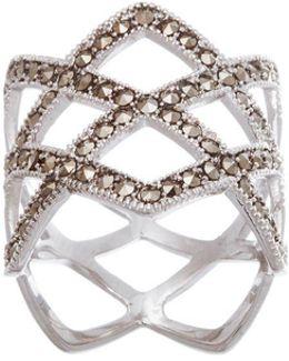 Marcasite Open Diamond Design Ring