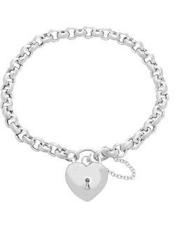 Sterling Silver Lock Charm Station Bracelet