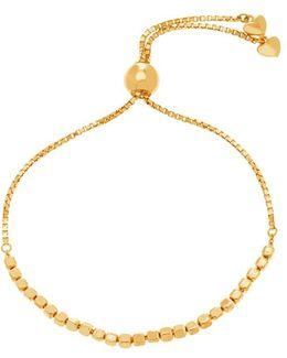 Goldtone Cubed Bead Slider Necklace