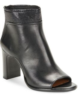 Open Toe Leather Ankle Boots