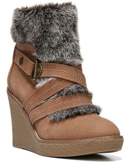 Omega Faux Fur-trimmed Wedge Booties