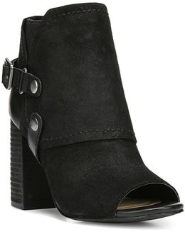 Roland Peep-toe Western Style Suede Booties