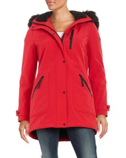 Faux Fur-trimmed Hooded Anorak Coat