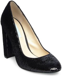 Lou Sequined Block Heel Pumps