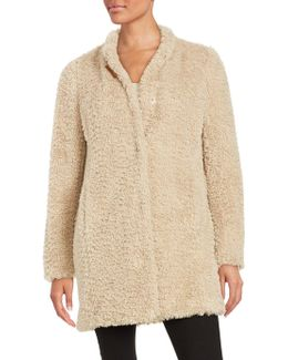 Faux Fur Button-front Coat
