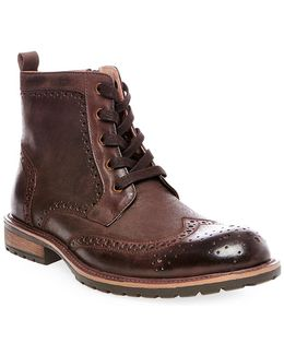 Sprocket Wingtip Leather Boots