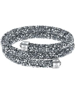 Silver-tone Dark-hued Crystaldust Wrap Bracelet