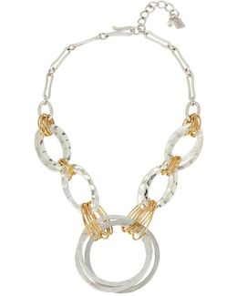 Two-tone Large Link Statement Necklace