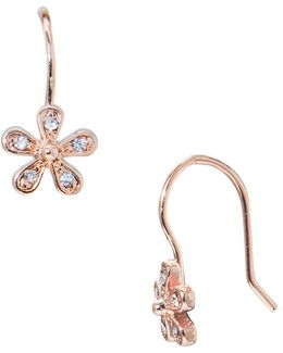 Small Crystal Flower Pierced Earrings