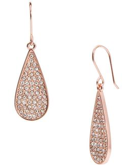 Small Pave Hoop Teardrop Earrings