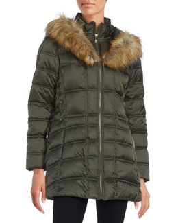 Faux Fur-trimmed Hooded Mid Length Puffer Coat