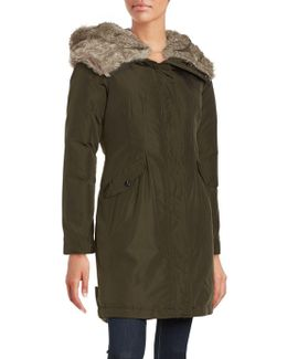 Faux Fur Trim Hooded Parka