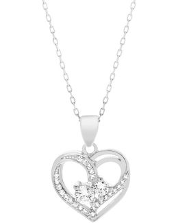 Cubic Zirconia & Sterling Silver Heart Forever Together Pendant Necklace