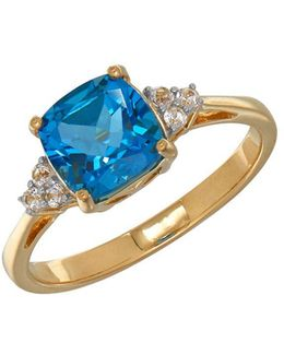 Blue Topaz And 14k Yellow Gold Ring