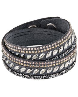 Slake Pulse Grey Crystal-accented Leather Wrap Bracelet