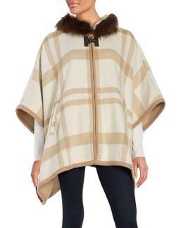 Wool Blend Check Printed Cape