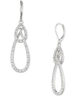 Silvertone Oval Drop Earrings
