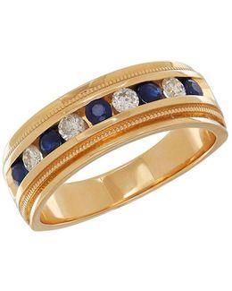 0.34tcw Diamond, Sapphire And 14k Yellow Gold Ring