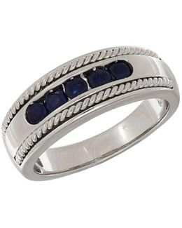 Sapphire And 14k White Gold Ring