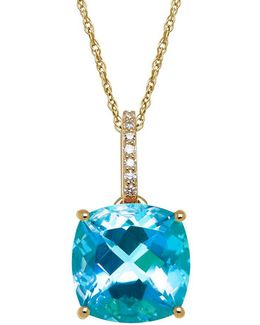 0.035 Tcw Diamonds, Topaz And 14k Yellow Gold Pendant Necklace