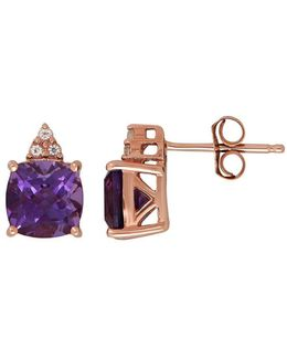 Amethyst And 14k Rose Gold Stud Earrings