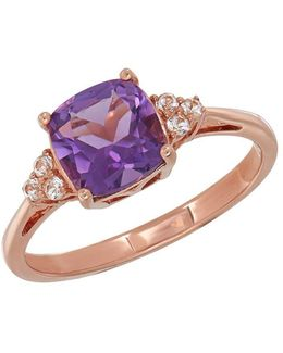 Amethyst And 14k Rose Gold Ring