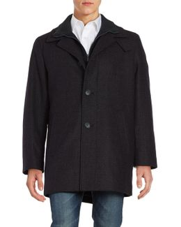 Wool-blend Zip-up Stand-collar Plaid Walker Coat