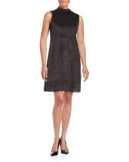 Laser-cut Faux Suede Shift Dress