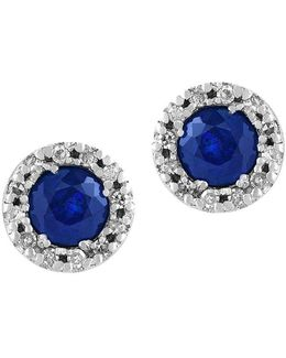 Royale Bleu 0.12tcw Diamonds And Sapphire 14k White Gold Stud Earrings