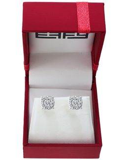 Bouquet 0.93 Tcw Diamonds And 14k White Gold Stud Earrings