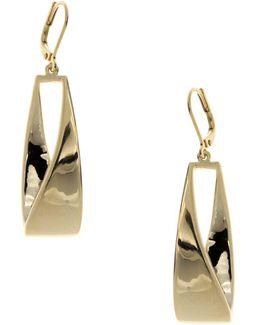 Goldtone Linear Leverback Earrings