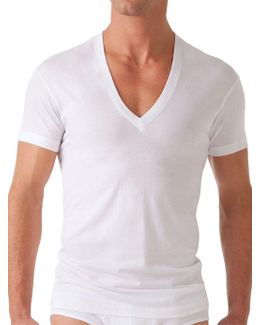Solid Dipped V-neck Tee