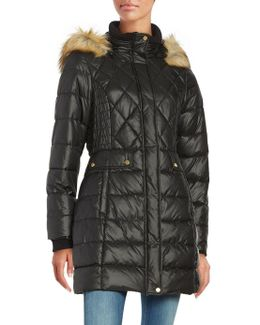 Faux Fur-accented Quilted Coat