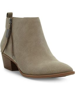 Heidi Suede Stacked Heel Ankle Boots