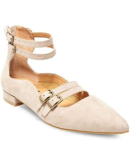 Mabel Buckle-trimmed Point-toe Flats