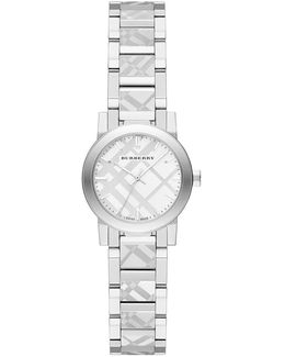 Stainless Steel Check Etched Bracelet Watch/26mm