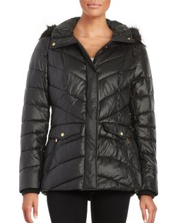 Faux Fur-trimmed Puffer Coat
