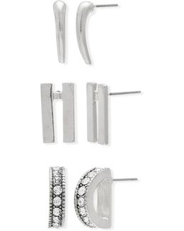 Three Pair Cubic Zirconia Silvertone Bar And Ring Earrings Set