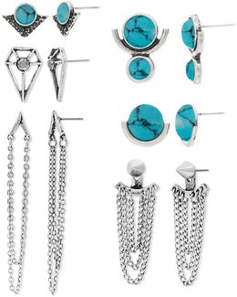 Six Pair Turquoise Silvertone Geometric And Chain Earrings Set