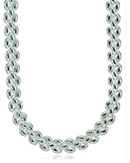 Embossed Braid Sterling Silver Chain Necklace
