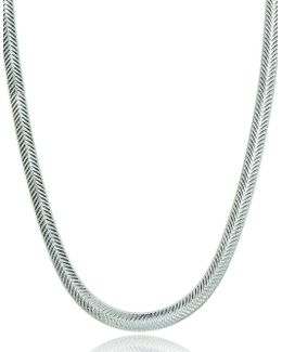 Chevron Sterling Silver Chain Necklace