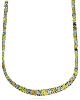 18k Yellow Goldplated Grid Necklace