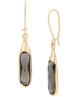 Faceted Stone Long Drop Goldtone Earrings