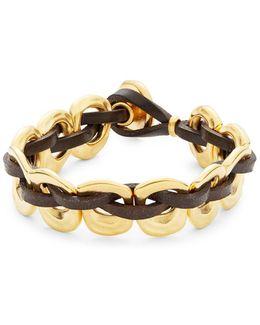 Pasicn Golden Link Leather Toggle Bracelet