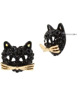 Skeletons After Dark Pave Cat Stud Earrings