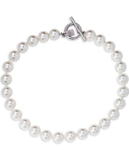Social Set 14mm Pearl Silvertone Necklace