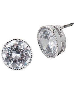 Social Set Cubic Zirconia Crystal Stud Pierced Earrings